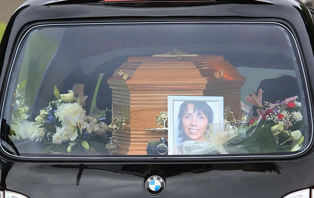 3/9/2016. Hawe Family Funeral. The bodies of the Hawe family arrive at the Church of St. Mary in Castlerahan in County Cavan. The family died in tragic circumstances as a result of a murder-suicide. Photo shows the coffin of Clodagh Hawe arriving at the church for the funeral mass. Photo: RollingNews.ie